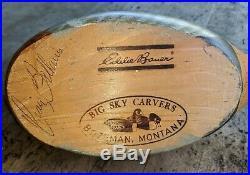 Big Sky Carvers Teal Duck Wood Carved Decoy Signed Craig Fellows Eddie Bauer