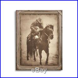 Big Sky Carvers Winter Save Barnwood Gallery Art Cowboy & Calf Canvas Print