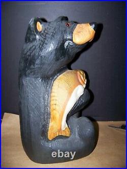 Big Sky Carvers Wood Bear With Fish jeff fleming 18313 jackson solid wood