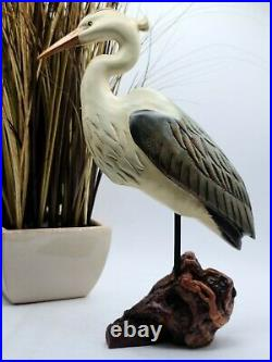 Big Sky Carvers Wood Blue Heron with Driftwood Base 13.5 x & 8.5