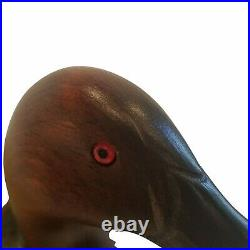 Big Sky Carvers Wood Canvasback Duck Decoy Red Glass Eye Signed Linda Williams