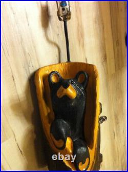 Big Sky Carvers Wood Carved Black Bear Lamp vintage