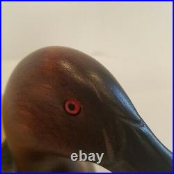 Big Sky Carvers Wood Duck Decoy Hand Carved Red Glass Eye Signed Linda Williams