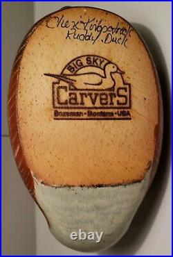 Big Sky Carvers Wood Ruddy Duck Decoy Signed by Cheri Kirkpatrick 9 1/2 Long