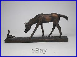 Bonded Bronze Big Sky Carvers Foal & Squirrel Sculpture CR Morrison Western