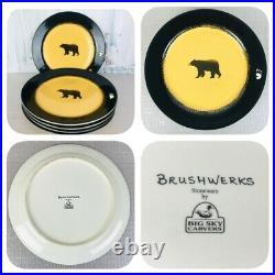 Brushwerks by Big Sky Carvers Bear Dinner Plates Set Of 5 Measures 10-3/4