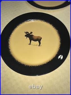 Brushwerks by Big sky Carvers Bull Moose plate Set Of 4 VGUC