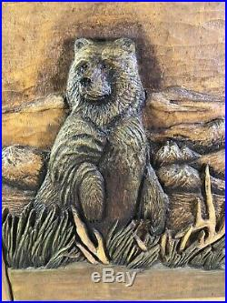 Custom NRA Big Sky Carvers wall Wood cabinet with 3D Grizzly Bear Door Carving