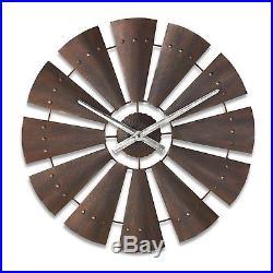 Decorative Windmill Clock Big Sky Carvers Brown Round Stylish Ornamental Display