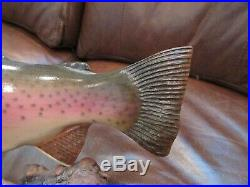 Early Big Sky Carvers Rainbow Trout Wood Carving Signed B. Berry 87
