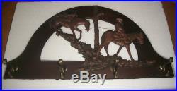 Headed For Home Horses Wall Coat Rack 4 Hook Big Sky Carvers NIB #30134484