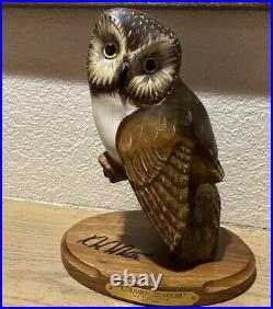 K W White Big Sky Carvers Owl Wood Sculpture Series Evening Tracker Big Sky