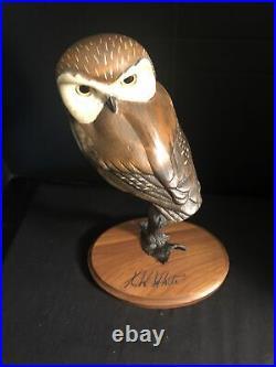 K W White Big Sky Master Carver OWL Sculpture Limited Edition 603/950 SIGNED