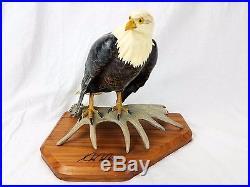 Ken K W White Big Sky Master Carver Bald Eagle Perched On Moose Antler Sculpture
