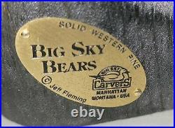 Large Hand Carved Wooden Bear Arnold Vtg Sculpture Big Sky Carvers Jeff Fleming