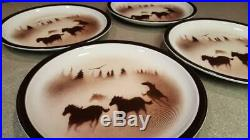 Lot of 4 Big Sky Carvers Norby WILD HORSES Dinner Plates 10 5/8 Lodge Stoneware