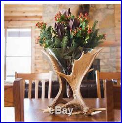 Moose Antler Vase, Big Sky Carvers, Flower Vase, hand-cast, glass, Faux Antlers