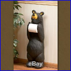 New Big Sky Carvers Bearfoots Bear Figurine John Standing Toilet Paper Holder