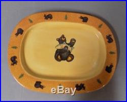 NEW Big Sky Carvers Bearfoot Large Oval Serving Platter Bear Trout Discontinued