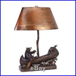 New In Box Bearfoots Bear Canoe Trip Sculpture Copper Lamp Jeff Fleming