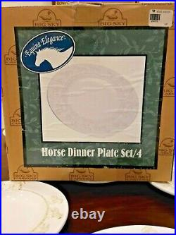 NEW! Set /4 Equine Elegance by Carol Grende Horse Dinner Plates Big Sky Carvers
