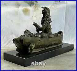 New Big Sky Carvers Bronze Sculpture Original Milo Canoe Fine Art Figurine Deal
