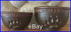 New Big Sky Carvers Maskwa Ridge Serving Bowl Set/2 Bear Paw Prints Stoneware