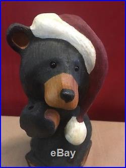 ORIGINAL WOOD BIG SKY BEARS CARVERS JEFF FLEMING 17 TALL Christmas Santa Hat