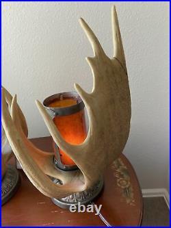 Pair Of big sky carvers moose antler lamps