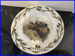 RARE Big Sky Carvers Lodge WOODLAND MOOSE Karry Hesla Dinnerware Set 15 Pieces