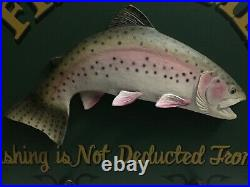 RARE HTF Big Sky Carvers B Reel 3D Trout Fishermen Bait Sign Coat Hat Rack Decor