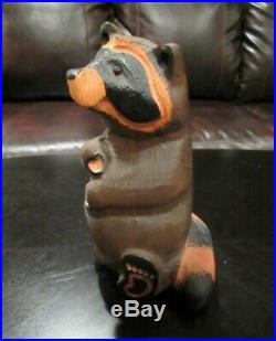 RARE Retired Large BIG SKY CARVERS HAND CARVED WOOD Wooden EMILY RACOON RACCOON