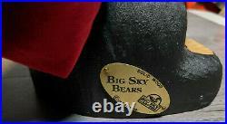 Rare Big Sky Carvers Jeff Fleming 13.25 Wood Carved Christmas Santa Bear withBag