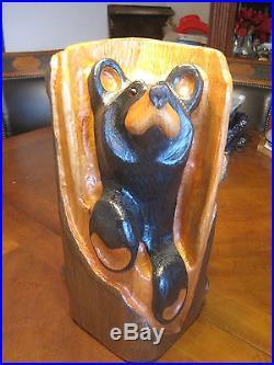 Rare Big Sky Carvers Jeff Fleming Solid Wood Carved Bear Bandit Signed Bsc