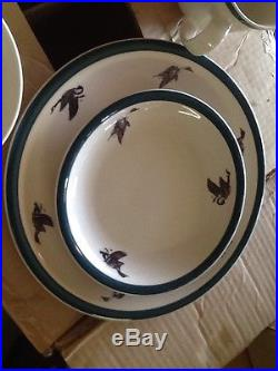 Rare Big sky Carvers 16 Piece Dishes Stoneware Duck Flyway Design Phillip Crowe
