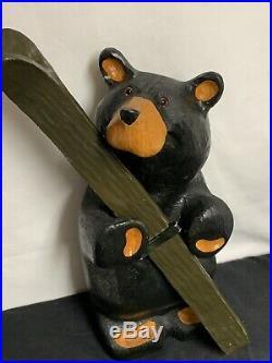 Rare Original Wood Big Sky Carvers Ski Bear By Jeff Fleming 17 Tall Brass Badge