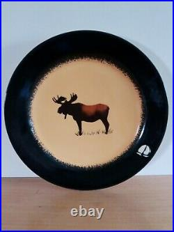 Set of 4 Big Sky Carvers Brushwerks Salad/Bread Plate Bull Moose 8.5 Across