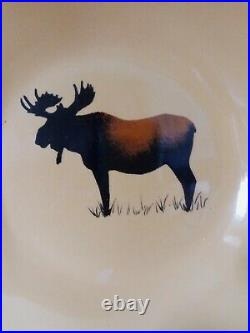 Set of 5 Big Sky Carvers Stoneware Brushwerks Moose Wide Rim Soup /Serving Bowl