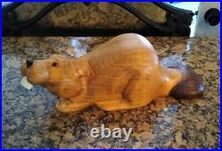 Vintage 1996 Big Sky Carvers Hand Carved Solid Wood 16 Beaver