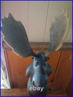 Vintage 1996 Big Sky Carvers Wood Pine Melvin Moose Sculpture