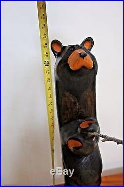 Vintage Big Sky Carvers Hand-Carved Black Bear Fishing Sculpture 26 Tall