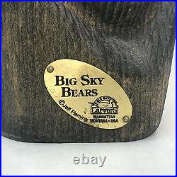 Vintage Big Sky Carvers Jeff Fleming Large Hand Carved Wood Bear 11.25 Tall