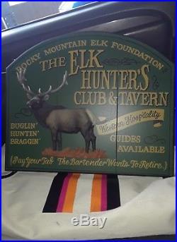 Vtg Big Sky Carvers Elk (THE ELK HUNTERS CLUB & TAVERN) Sign