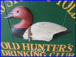 Vtg Wood Big Sky Carvers Meissenburg Old Hunters Drinking Club 3D sign Montana