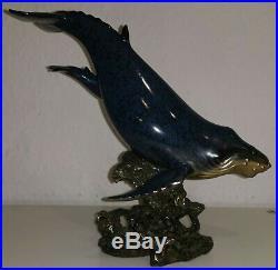 WAL WHALE BUCKELWAL mit BABY Skulptur Figur von BIG SKY CARVERS