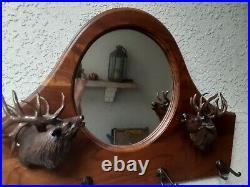 Walnut Carved Hall Tree Mirror with Hooks Big Sky Carvers Majestic Elks