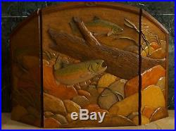 William Herrick Big Sky Carvers Trout Stream Carved Fireplace Cover