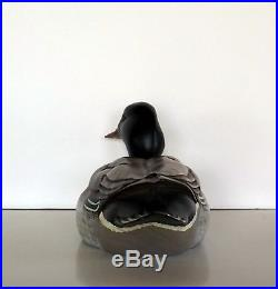 Wood Carved Hand Painted Duck Decoy by Big Sky Carvers, Artist Signed, 10 1/2 L