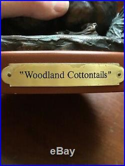 Woodland Cottontails Big Sky Carvers Burl Jones'93 Bronze/resin rabbits MINT